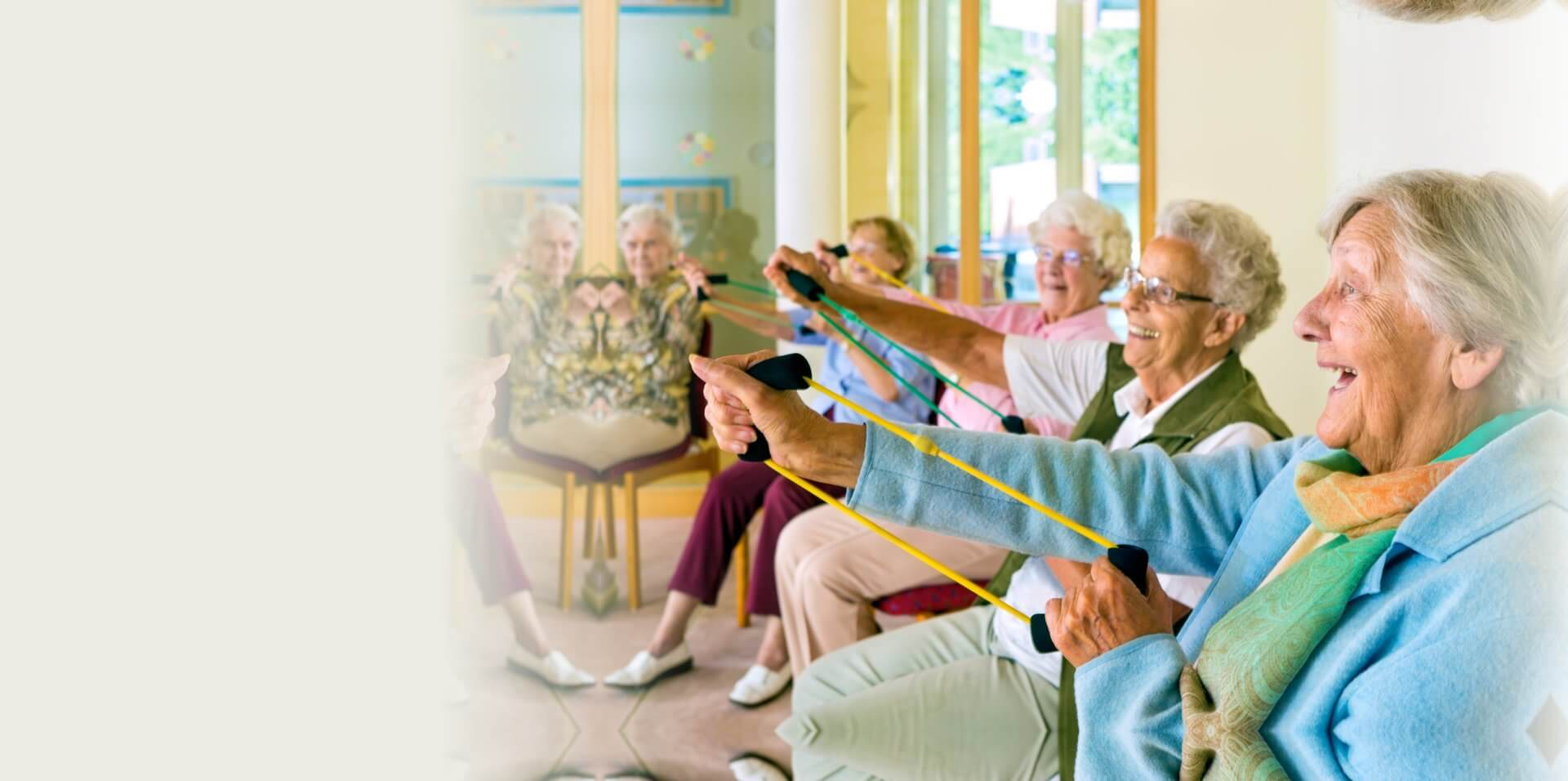 lovely grandmas doing their daily exercise