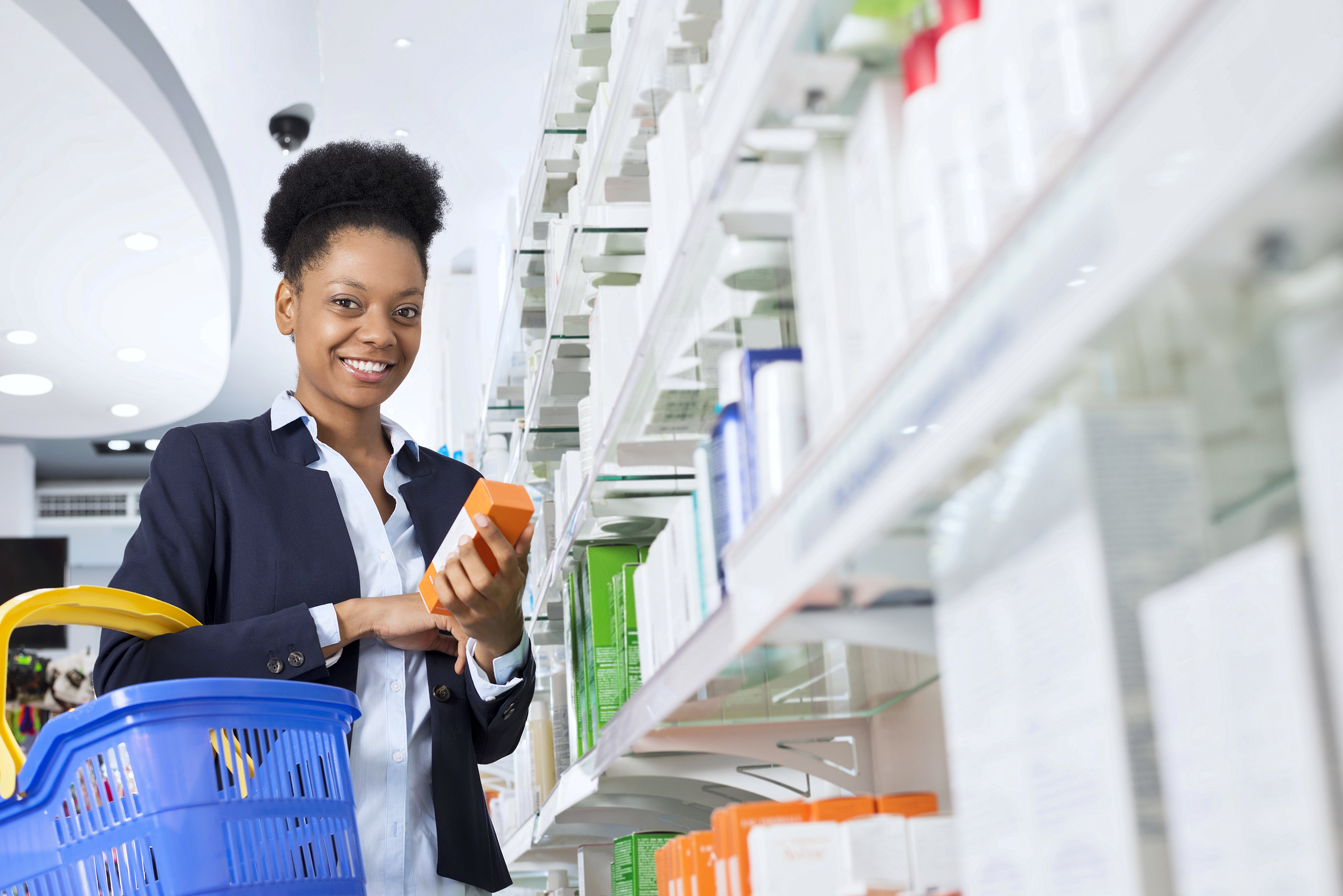 A woman buying medicines